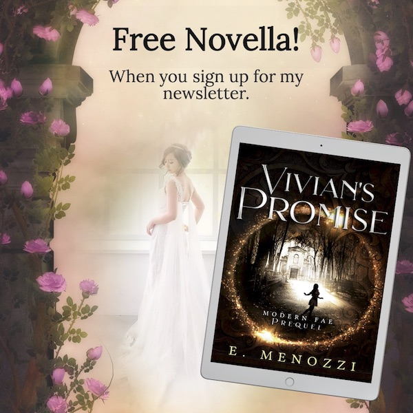 Image of woman in a wedding dress alongside ebook cover of Vivian's Promise.